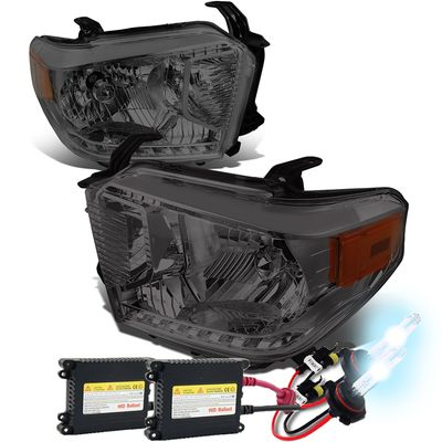 HID Xenon + 14-19 Toyota Tundra OE-Style Replacement Headlights - Smoked Amber