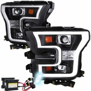 HID Xenon + 15-17 Ford F-150 LED DRL Projector Headlights - Black