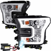 HID Xenon + 15-17 Ford F-150 LED DRL Projector Headlights - Chrome