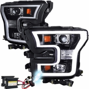 HID Xenon + 15-17 Ford F-150 LED DRL Projector Headlights - Gloss Black