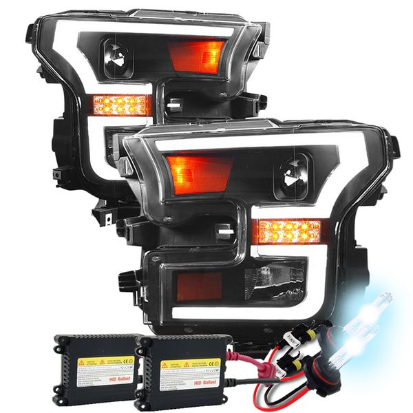 HID Combo 15-16 Ford F-150 LED DRL / Signal Projector Headlights - Black