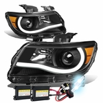 HID Xenon + 15-17 Chevy Colorado LED Tube Projector Headlights - Black Amber