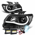 HID Xenon + 15-17 Chevy Colorado LED Tube Projector Headlights - Black Clear