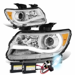 HID Xenon + 15-17 Chevy Colorado LED Tube Projector Headlights - Chrome Amber
