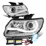 HID Xenon + 15-17 Chevy Colorado LED Tube Projector Headlights - Chrome Clear