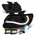 HID Xenon + 15-17 Chevy Colorado LED Tube Projector Headlights - Smoked Amber