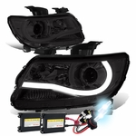 HID Xenon + 15-17 Chevy Colorado LED Tube Projector Headlights - Smoked Clear