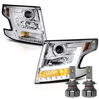 LED Low Beam + 15-17 Chevy Tahoe / Suburban [Halogen model] LED DRL Projector Headlights - Chrome
