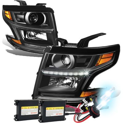 HID Xenon + 15-17 Chevy Tahoe/Suburban LED DRL Projector Headlights  - Black / Amber