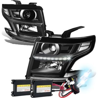 HID Xenon + 15-17 Chevy Tahoe/Suburban LED DRL Projector Headlights  - Black / Clear