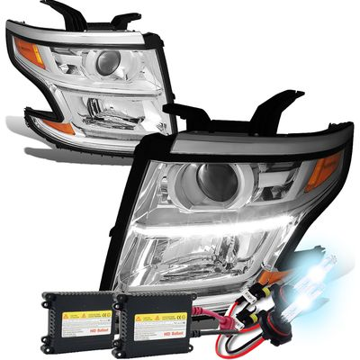 HID Xenon + 15-17 Chevy Tahoe/Suburban LED DRL Projector Headlights  - Chrome / Amber
