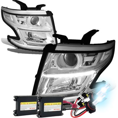 HID Xenon + 15-17 Chevy Tahoe/Suburban LED DRL Projector Headlights  - Chrome / Clear