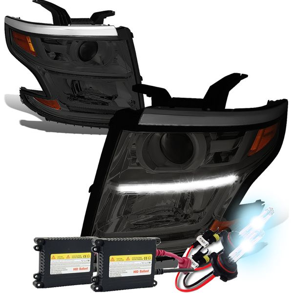 HID Xenon + 15-17 Chevy Tahoe/Suburban LED DRL Projector Headlights  - Smoked / Amber