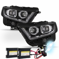 HID Xenon + 15-17 Ford Edge Sequential LED Signal / DRL Projector Headlights - Chrome