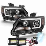 HID Xenon + 15-19 Chevy Colorado LED C-Tube Projector Headlights - Black