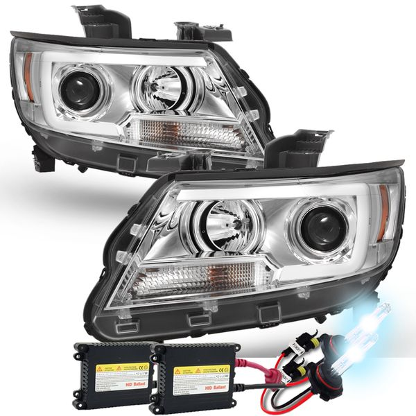 HID Xenon + 15-19 Chevy Colorado LED C-Tube Projector Headlights - Chrome