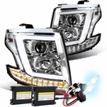 HID Xenon + 15-20 Chevy Tahoe / Suburban [Halogen Model] Optic-LED Tube Projector Headlights Chrome