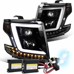 HID Xenon + 15-20 Chevy Tahoe / Suburban [Halogen Model] Optic-LED Tube Projector Headlights Pearl Black