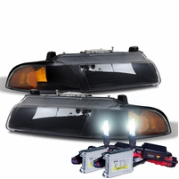 HID Xenon + 1995-2000 Dodge Stratus Replacement Crystal Headlights - Black