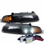 HID Combo 1995-2000 Dodge Stratus Replacement Crystal Headlights - Black