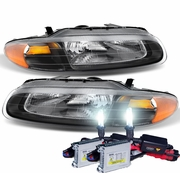 HID Xenon + 1996-2000 Chrysler Sebring Convertible Replacement Crystal Headlights - Black