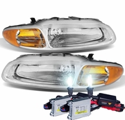 HID Xenon + 1996-2000 Chrysler Sebring Convertible Replacement Crystal Headlights - Chrome