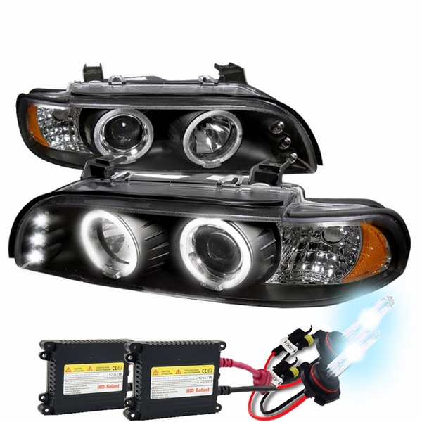 HID Xenon + 01-03 BMW E39 5-Series 525i 530i LED DRL Halo Projector Headlights - Black