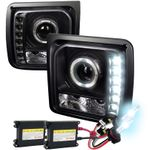HID Xenon + 1997-2001 Jeep Cherokee Halo LED DRL Projector Headlights - Black