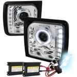 HID Xenon + 1997-2001 Jeep Cherokee Halo LED DRL Projector Headlights - Chrome