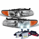 HID Xenon + 1997-2003 Pontiac Grand Prix Replacement Crystal Headlights + Corner - Chrome