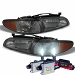 HID Xenon + 1997-2003 Pontiac Grand Prix Replacement Crystal Headlights + Corner - Smoked