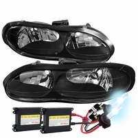 HID Xenon + 1998-2002 Chevy Camaro Z28 Replacement Crystal Headlights - Black