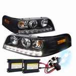 HID Xenon + 1998-2011 Ford Crown Victoria LED Projector Headlights - Black
