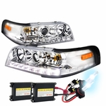 HID Xenon + 1998-2011 Ford Crown Victoria LED Projector Headlights - Chrome