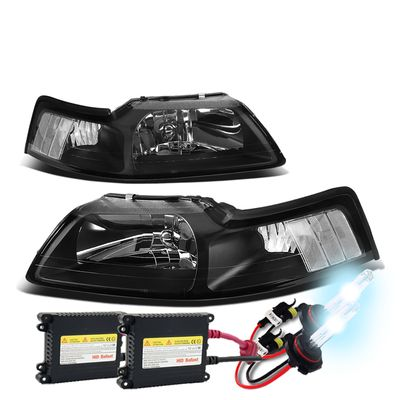 HID Xenon + 1999-2004 Ford Mustang 1PC Black Crystal Headlights