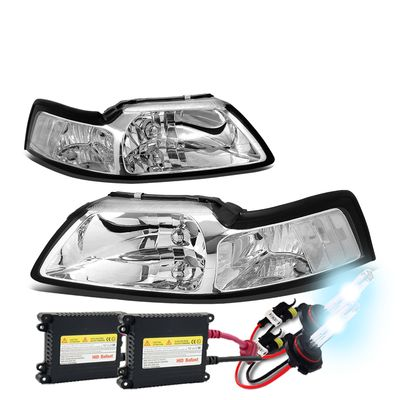 HID Xenon + 1999-2004 Ford Mustang 1PC Chrome Crystal Headlights