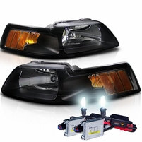 HID Xenon + 1999-2004 Ford Mustang 1PC Euro Style Black Crystal Headlights