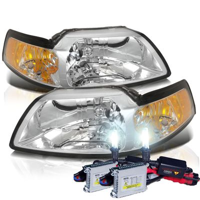 HID Xenon + 1999-2004 Ford Mustang 1PC Euro Style Chrome Amber Crystal Headlights