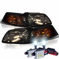 HID Xenon + 1999-2004 Ford Mustang 1PC Euro Style Smoked Amber Crystal Headlights