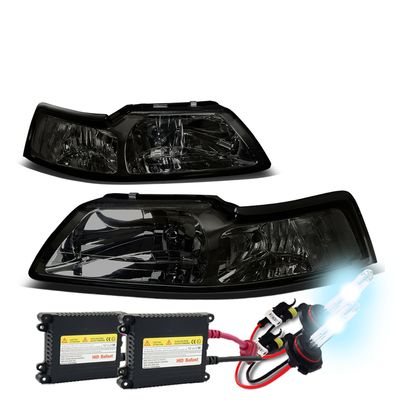 HID Xenon + 1999-2004 Ford Mustang 1PC Smoked Crystal Headlights