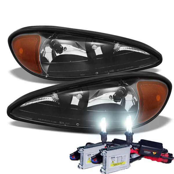 HID Combo 1999-2005 Pontiac Grand AM Replacement OE Style Crystal Headlights - Black