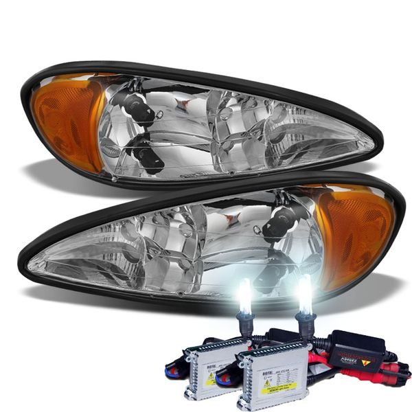 HID Combo 1999-2005 Pontiac Grand AM Replacement OE Style Crystal Headlights - Chrome