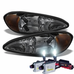 HID Xenon + 1999-2005 Pontiac Grand AM Replacement OE Style Crystal Headlights - Smoked