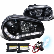 HID Xenon + 1999-2006 VW Golf LED DRL Projector Headlights Black