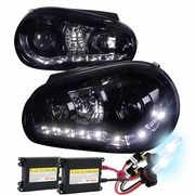 HID Xenon + 1999-2006 VW Golf LED DRL Projector Headlights Glossy Black