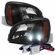 HID Xenon + 2000-2005 Cadillac Deville Replacement Crystal Headlights - Black