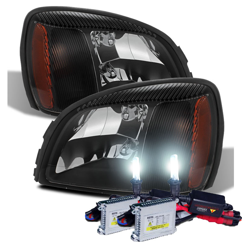 2000 2005 Cadillac Deville Replacement Crystal Headlights Black Click To Enlarge
