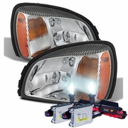 HID Xenon + 2000-2005 Cadillac Deville Replacement Crystal Headlights - Chrome
