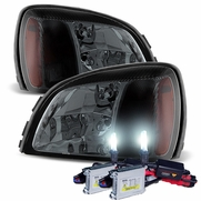 HID Xenon + 2000-2005 Cadillac Deville Replacement Crystal Headlights - Smoked
