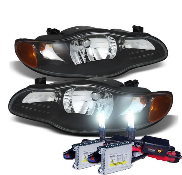 HID Combo 2000-2005 Chevy Monte Carlo Replacement Crystal Headlights - Black